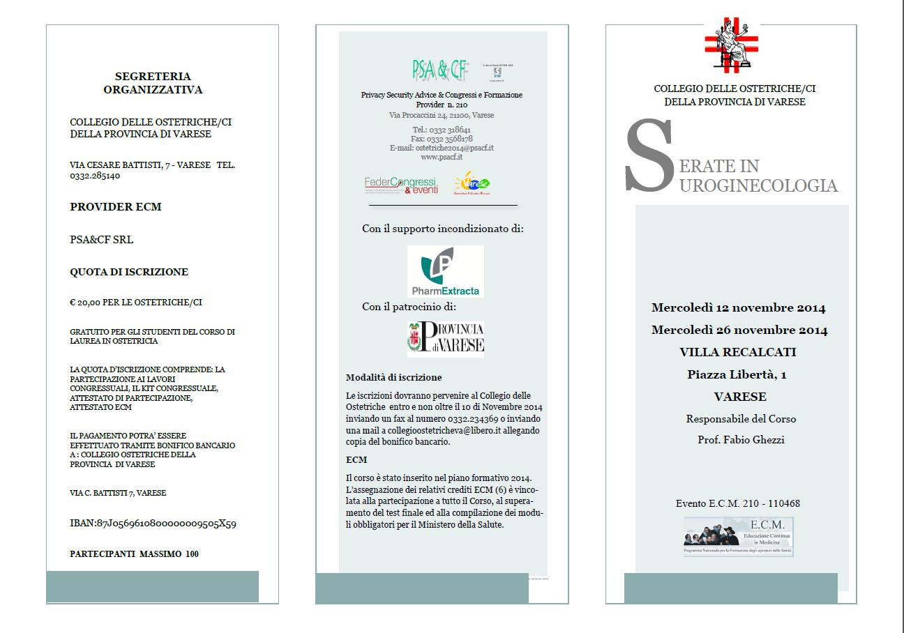 """Locandina """"Ostetriche - Serate in Uroginecologia"""""""